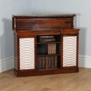 Antique English Regency Rosewood & Brass Chiffonier Bookcase (Circa 1820)- yolagray.com