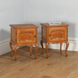 Pair of Antique French Louis XV1 Style Oak Bedside Cabinet Tables (Circa 1920)- yolagray.com