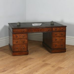 Antique English Victorian Oak & Leather 5ft Partner's Pedestal Office Desk (Circa 1860)- yolagray.com