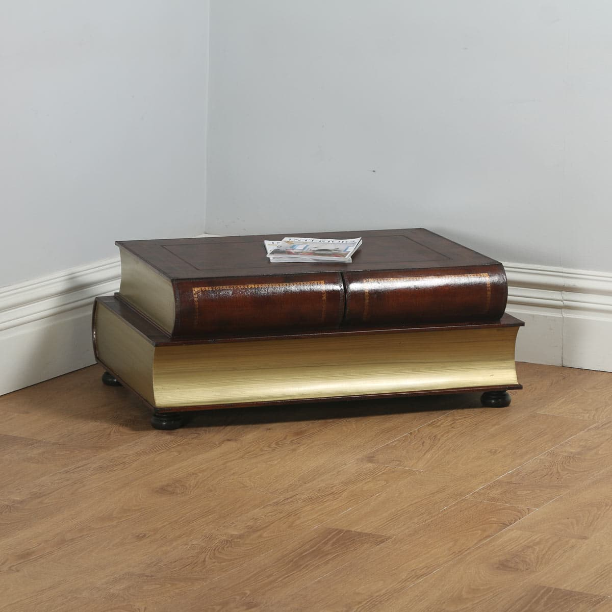 Vintage English Brown Leather Double Book Form Shaped Coffee