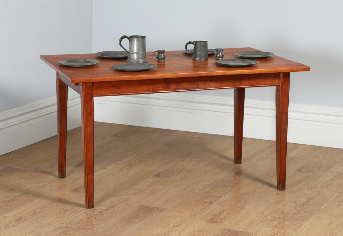 Antique French 4ft 7 Cherry Fruit Wood Refectory Kitchen Dining Table With Breadboard Circa
