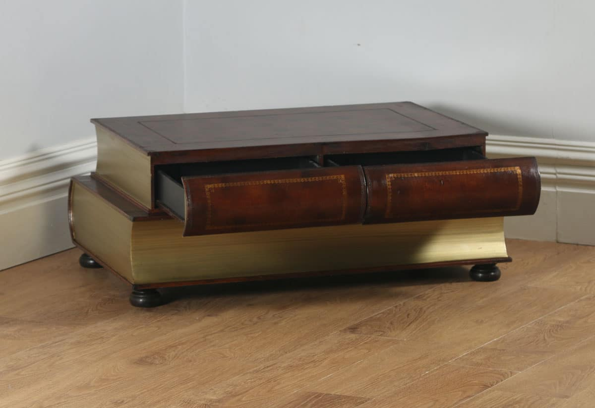 Vintage English Brown Leather Double Book Form Shaped
