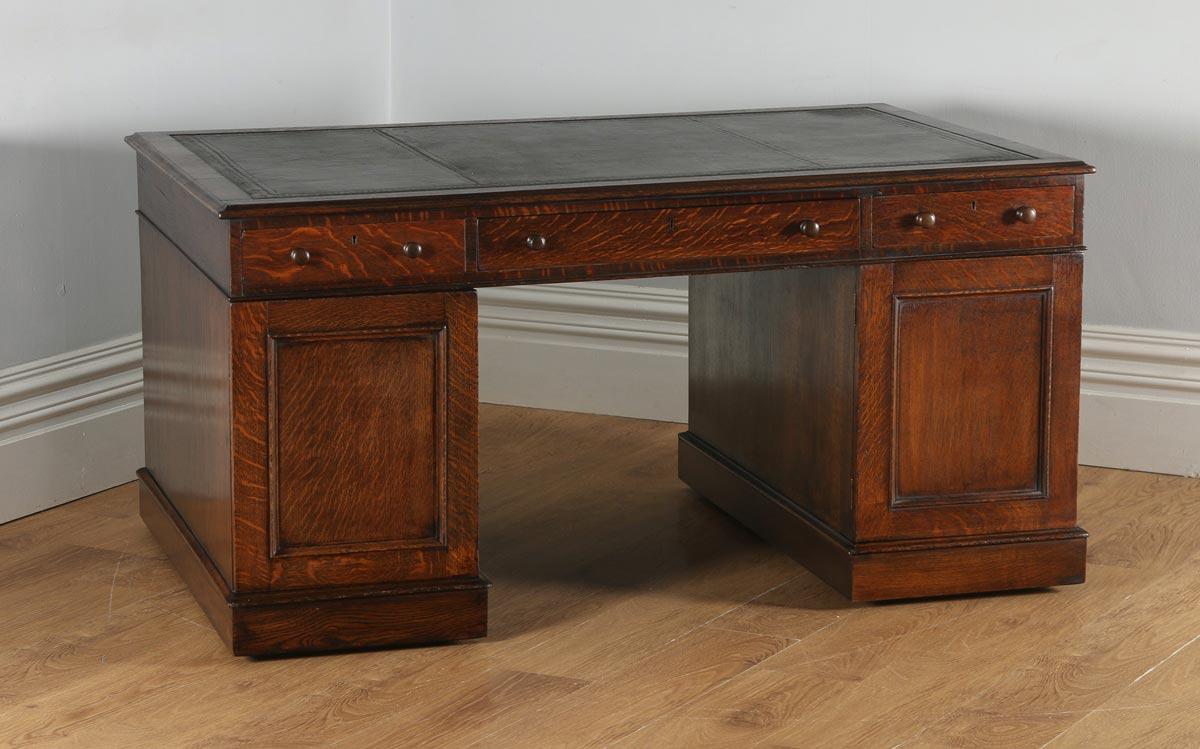 Antique English Victorian Oak Leather 5ft Partner S Pedestal Office Desk Circa 1860