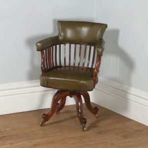 Antique English Victorian Mahogany & Green Leather Revolving Captains Office Armchair (Circa 1870)- yolagray.com