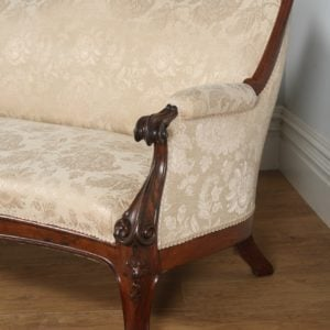 Antique English Victorian Rosewood Upholstered Couch Sofa