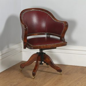 Antique English Edwardian Mahogany & Red Leather Revolving Office Desk Armchair (Circa 1910)- yolagray.com