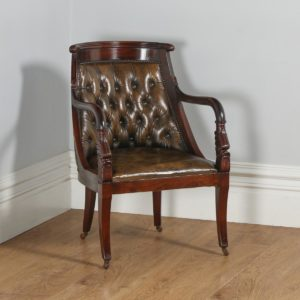 Vintage Regency Style Mahogany & Brown Leather Library Arm Chair (Circa 1970) - yolagray.com