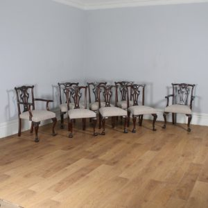 Antique English Set of 8 Georgian Chippendale Style Mahogany Dining Chairs (Circa 1880) - yolagray.com