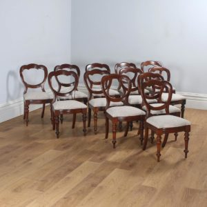 Antique English Set of 12 Victorian Mahogany Crown Back Dining Chairs (Circa 1870) - yolagray.com
