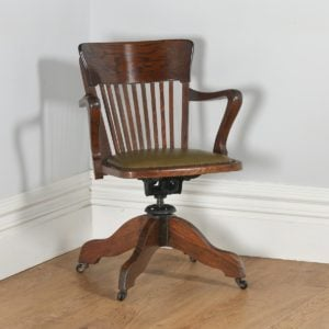 Antique English Edwardian Oak Revolving Office Desk Arm Chair Circa (1910)- yolagray.com