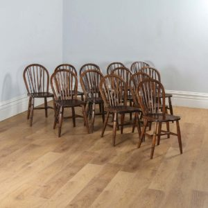 Antique Set of 12 Twelve Victorian Ash & Elm Hoop Stick Spindle Back Kitchen Dining Chairs (Circa 1900)- yolagray.com