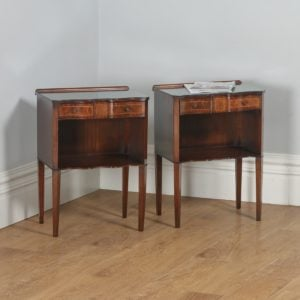 Pair of Georgian Regency Style Mahogany & Glass Serpentine Bedside Cabinets (Circa 1970)- yolagray.com