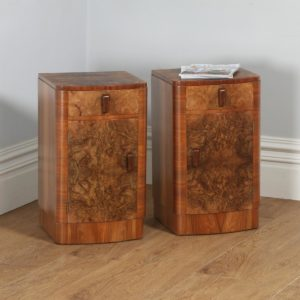 Antique Pair of Art Deco Burr Walnut Bedside Cupboards (Circa 1930)- yolagray.com
