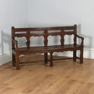 "Antique French 5ft 11"" Breton Chestnut Hall Settle Bench (Circa 1850)- yolagray.com"
