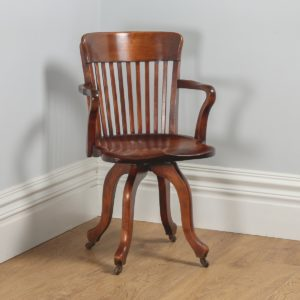 Antique English Edwardian Beech Revolving Office Desk Armchair (Circa 1900)- yolagray.com