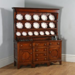 Antique Welsh Anglesey Talwrn Breakfront Georgian Oak Dresser Base & Rack (Circa 1810) - yolagray.com
