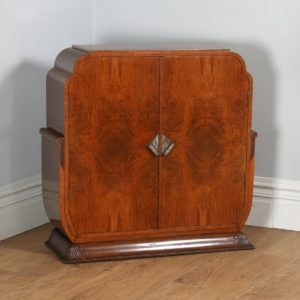 Antique English Art Deco Figured Walnut Cocktail Drinks Cabinet (Circa 1930) - yolagray.com