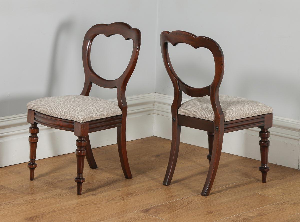 Antique English Set of 12 Victorian Mahogany Crown Back Dining Chairs  (Circa 1870) - - Antique English Set Of 12 Victorian Mahogany Crown Back Dining