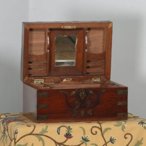 Antique Victorian Colonial Anglo Indian Mahogany Writing / Jewellery / Sewing Box (Circa 1880)- yolagray.com