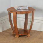 Art Deco Figured Walnut Octagonal Coffee Occasional Magazine Side Table (Circa 1930)- yolagray.com