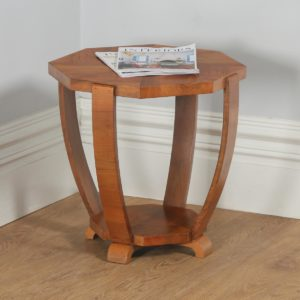 Art Deco Figured Walnut Octagonal Coffee Occasional Magazine Side Table (Circa 1930)- yolagray.com