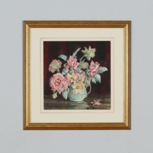 Antique English Watercolour Painting of Flowers in a Vase by Helen Seddon (Circa 1930) - yolagray.com