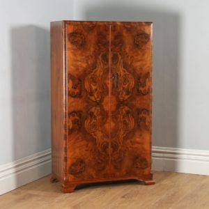 Antique English Art Deco Burr Walnut Two Door Compactum Wardrobe (Circa 1930) - yolagray.com