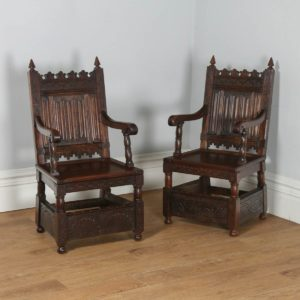 Antique English Pair of Gothic 16th Century Style Oak Armchairs (Circa 1860) - yolagray.com