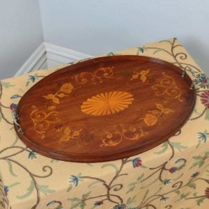 Antique English Edwardian Mahogany Marquetry Inlaid Oval Drinks Tray (Circa 1900) - yolagray.com