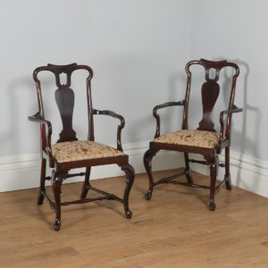 Antique English Pair of Queen Anne Style Mahogany Crook Armchairs (Circa 1880)- yolagray.com