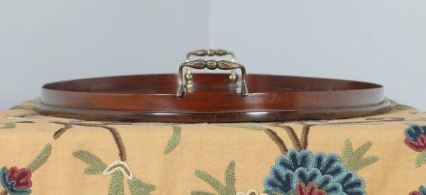 Antique English Edwardian Mahogany Marquetry Inlaid Oval Drinks Tray (Circa 1900) - yolagray.com