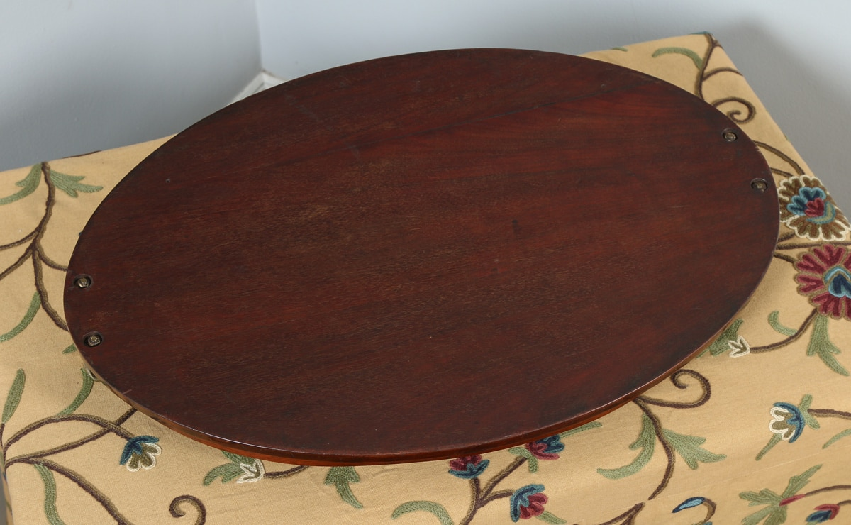 Antique English Edwardian Mahogany Marquetry Inlaid Oval