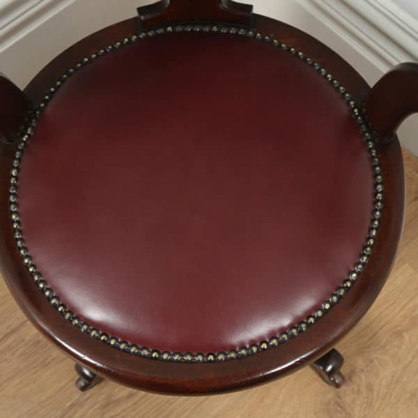 Antique English Victorian Mahogany & Burgundy Red Leather Revolving Office Desk Arm Chair (Circa 1870)- yolagray.com