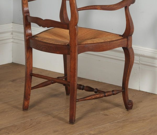Antique Set of 12 French Louis XV Style Oak Ladder Back Rush Seat Dining Chairs (Circa 1910) - yolagray.com