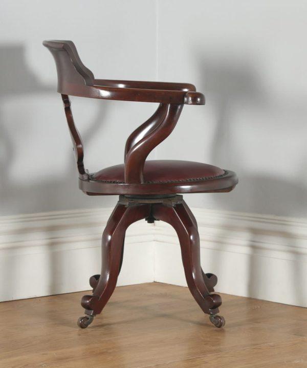 Antique English Victorian Mahogany & Burgundy Red Leather Revolving Office Desk Arm Chair (Circa 1870)- yolagray.com