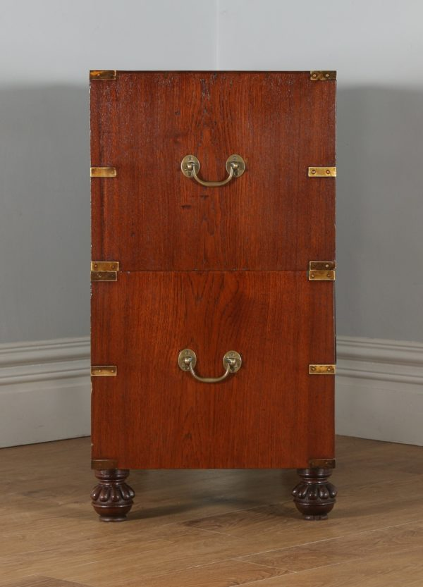 Antique Anglo Indian Victorian Colonial Teak & Brass Military Campaign Chest of Drawers (Circa 1840)- yolagray.com