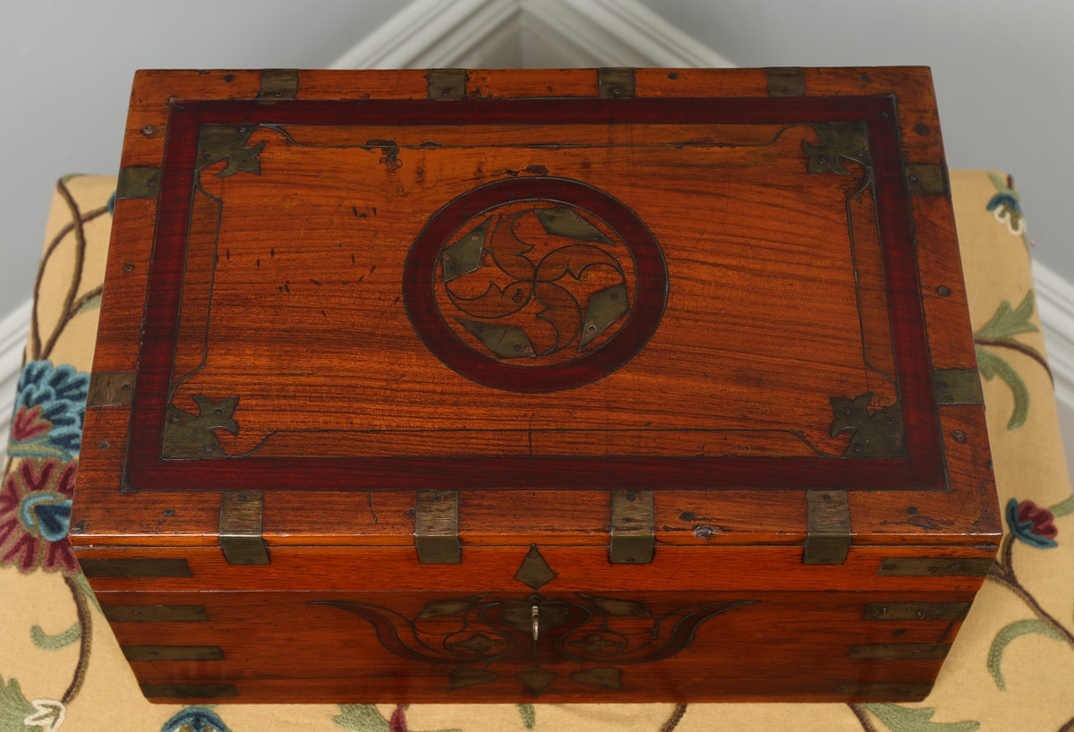 Antique Victorian Colonial Anglo Indian Mahogany Writing / Jewellery / Sewing Box (Circa 1880) & Antique Victorian Colonial Mahogany Writing / Jewellery / Sewing ... Aboutintivar.Com