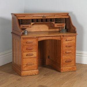 Antique English Edwardian 4ft Oak Roll Top Pedestal Desk (Circa 1910) - yolagray.com