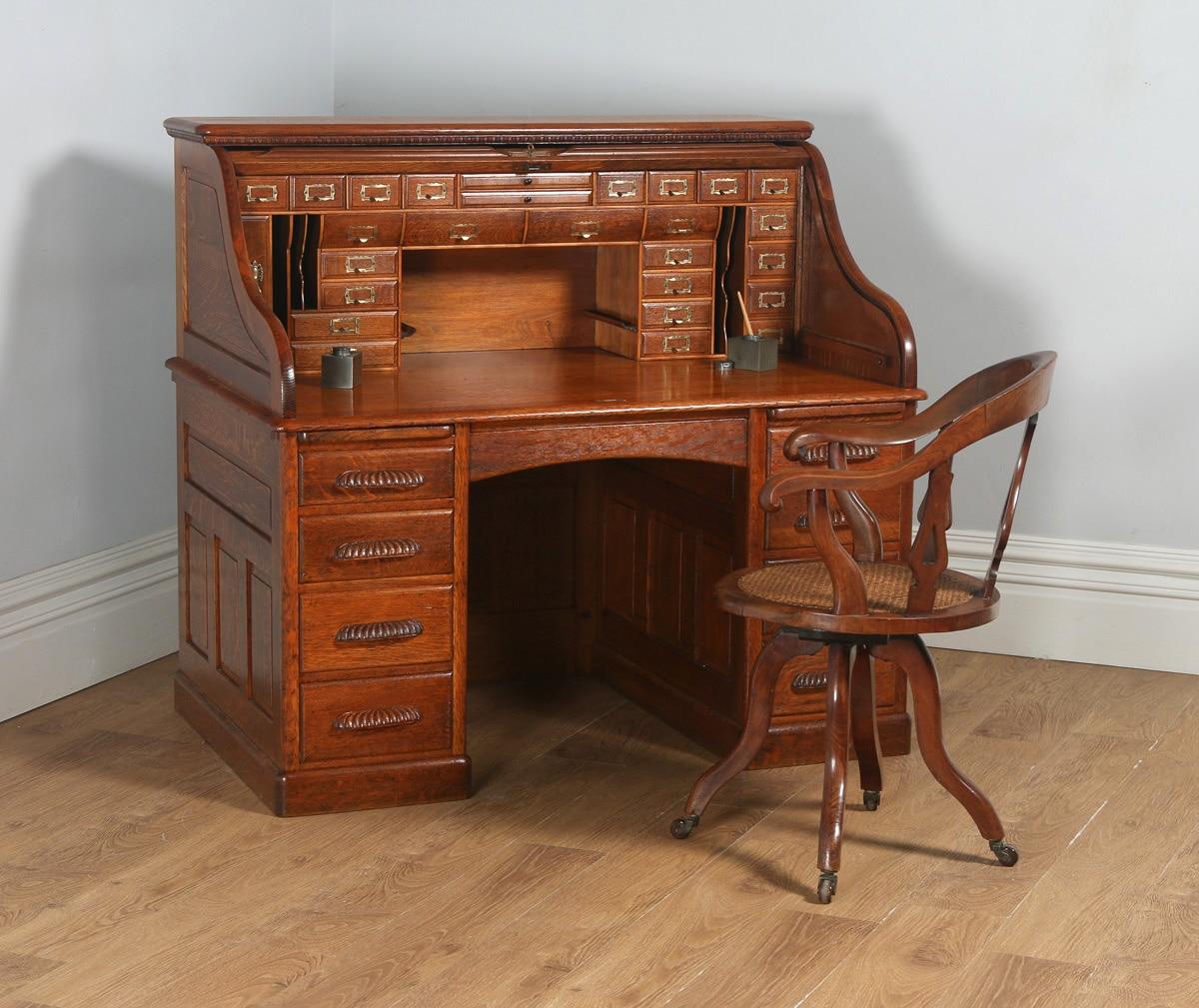 Antique English Victorian Oak Roll Top Pedestal Office