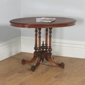 Antique English Victorian Aesthetic Mahogany & Walnut Oval Loo Centre / Side Table (Circa 1880)- yolagray.com