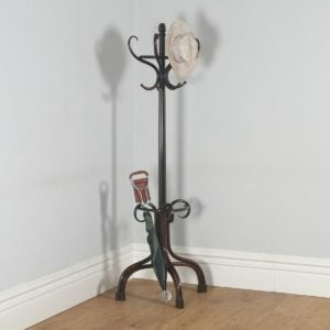 Antique English Edwardian Bentwood Coat, Hat, Stick & Umbrella Demi Lune Hallstand (Circa 1910)- yolagray.com