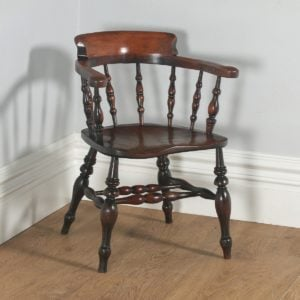Antique English Victorian Ash & Elm Smokers' Bow Office Desk Arm Chair (Circa 1880)- yolagray.com