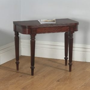 Antique English Georgian Regency Mahogany D End Fold Over Tea Side / Table (Circa 1820)- yolagray.com