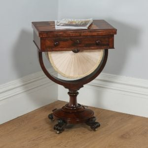 Antique English William IV Rosewood & Birds Eye Maple Work Table (Circa 1830) - yolagray.com