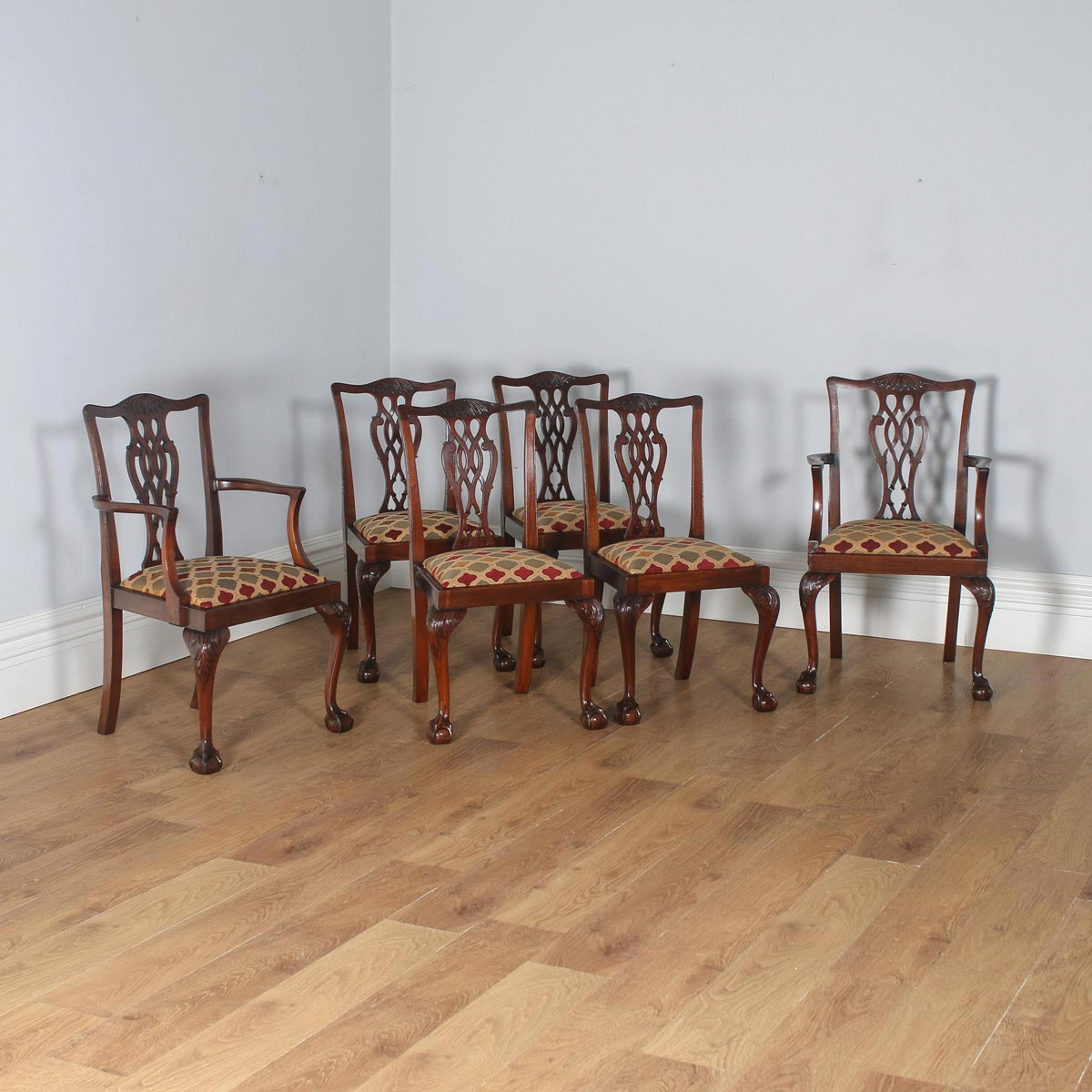 6bbd28f9acc10 Antique English Set of Six Georgian Chippendale Style Mahogany Dining Chairs  (Circa 1900)-