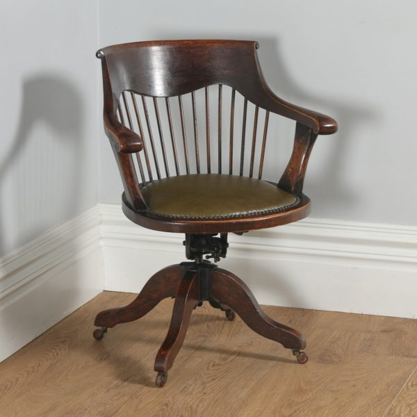 Antique English Victorian Oak Revolving Office Desk Green Leather Arm Chair (Circa 1880) -yolagray.com