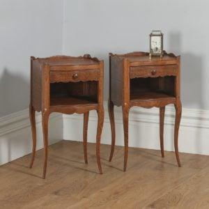 Antique Pair of French Louis XVI Style Oak Serpentine Bedsides / Nightstands (Circa 1920)- yolagray.com