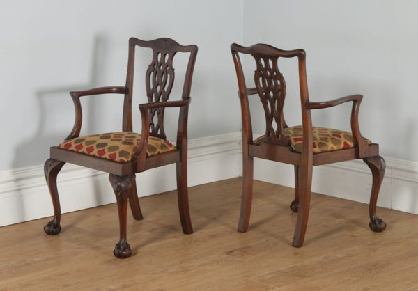 Antique English Pair of Georgian Chippendale Style Mahogany Library Office Desk Armchairs (Circa 1900)- yolagray.com