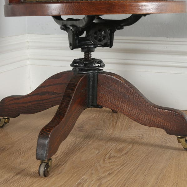 Antique English Victorian Oak Revolving Office Desk Green Leather Arm Chair (Circa 1880)- yolagray.com