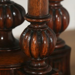 Antique English Victorian Aesthetic Mahogany & Walnut Oval Loo Centre / Side Table (Circa 1880)- yolagray.com